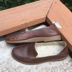 Olukai Kiele Leather Collapsible Loafers 7.5W Java